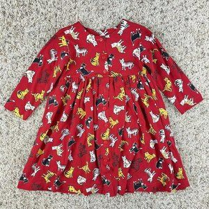 Vintage 90s Kelly's Kids Red Cats Dress 4T L/S